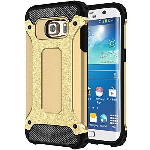 FINOO | Samsung Galaxy S6 Hybrid Armor Case Outdoor Rundumschutz Handy-Hülle |Dual Layer Schutzhülle TPU Silikon Handy Tasche Hard Cover (Gold)