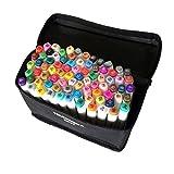 OUMIZHI-TOUCHNEW 80 Set de stylo de marque couleur Alcool Pointe jumelle Grand point fin pour l'art Dessin Graphique Corps blanc (pour la conception de la construction)