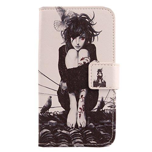 """Lankashi 3in1 Set Stamp Tower Design PU Cuir Coque Case Pour Alcatel One Touch Pop 4S 5.5"""" 5095K Housse Etui Cover Flip Verre Trempé Vitre de Protection écran Rétractable Mini Tactiles Capacitif Stylu Roof Girl"""