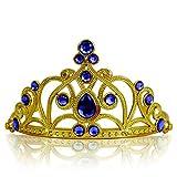 Katara 1682 - Prinzessin Diadem Krone, Verkleidung Kostüm, Fasching Karneval, Haarspange, Gold/Dunkelblau