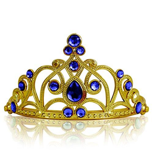 Prinzessin Mädchen Diademe in vielen Farben (Gold Dunkel-Blau)