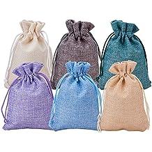 BENECREAT 30 Pack 6 Bolsas de arpillera de Color con Bolsas de Regalo con Cordon Bolsa
