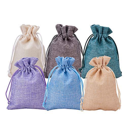 BENECREAT 30 Confezione da 6 sacchetti di tela colorata con sacchetti regalo con cordino Sacchetto di gioielli per festa di matrimonio e fai-da-te, 4.5 x 3.7 pollici