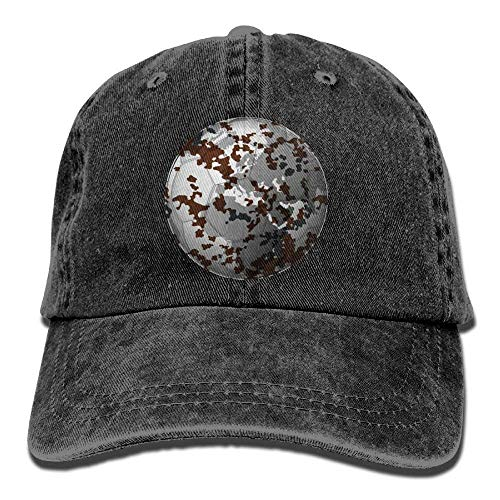 Hoswee Unisex Kappe/Baseballkappe, Camo Soccer and Earth Pattern Denim Hat Men Cute Baseball Caps