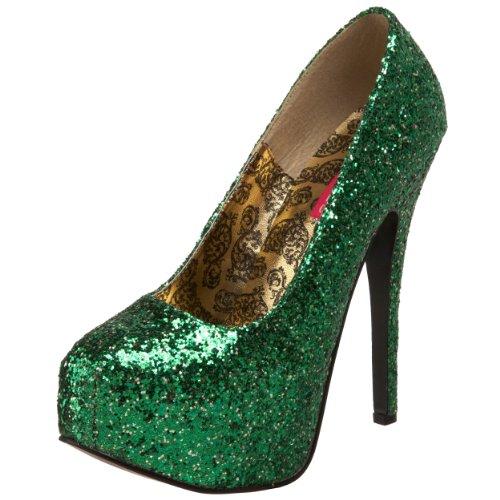 Bordello by Pleaser High Heels Pumps TEEZE-06 Silber Glitzer Green Gltr