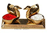#7: DreamKraft Loving Bird Duck Chopda Pair With Kumkum Roli Rice Box For Gift and Pooja Purpose Showpiece