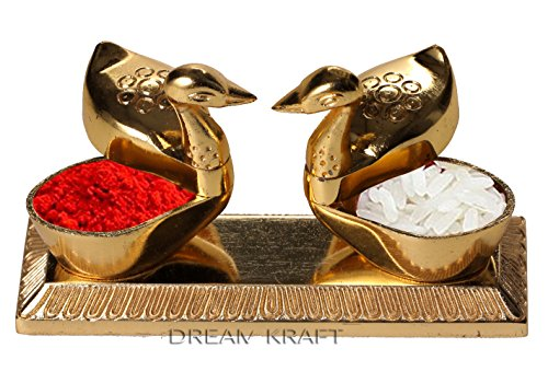 DreamKraft Loving Bird Duck Chopda Pair With Kumkum Roli Rice Box For Gift and Pooja Purpose Showpiece