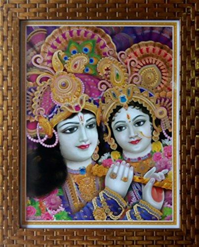 Shree Handicraft Lord Krishna with Radha Religious 'RADHA KRISHNA' Painting with Frame (27 cm x 33 cm x 1 cm, Acrylic sheet used)