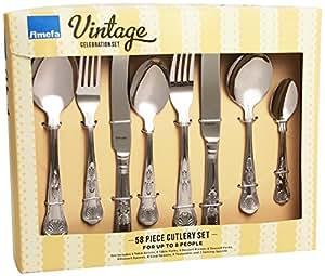 Amefa Vintage Kings Cutlery Set Stainless Steel 58 Piece
