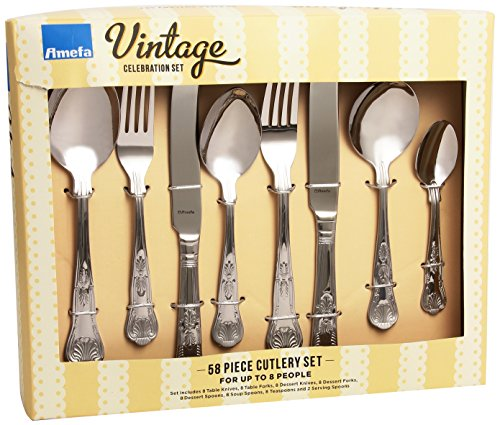 Amefa Vintage Kings 58 Piece 8 Person Luxury Cutlery Set - Gift Boxed