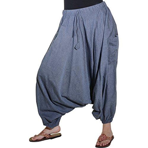 Indische Jeans (KUNST UND MAGIE Orientalische Haremshose one Size in vielen Farben, Farbe:Mausgrau/Grey)