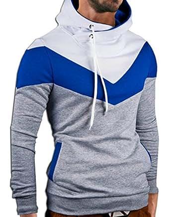 MT Styles Kapuzenpullover Colour-Block Hoodie Pullover S-151 [Grau, L]