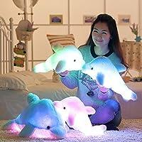 MFEIR® Animal de mar adorable Pequeños juguetes de peluche, forma de delfín juquete con color de mezcla que cambia de luz LED 45cm Rosado