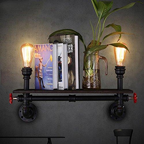DZW Nordic Rétro Style Industriel Applique Murale Creative Étagère Murale Étagère à Livres Étagères Restaurant Bar Salon Loft Décoratif Éclairage, Lumière E27 * 2, Taille 54 * 22 cm,Simple