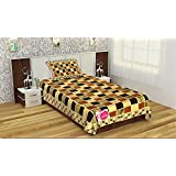 """Fresh From Loom 500 TC Superior Velvet Febric 1 Single Bedsheet(60 X 90 Inch) With 1 Pillow Cover(17 × 27 Inch), Multi-color Single Size Fitted Bedsheet, Superior Elegant Multi Color Checks On Bedsheet, Attractive Color Combination, Bedsheet F"