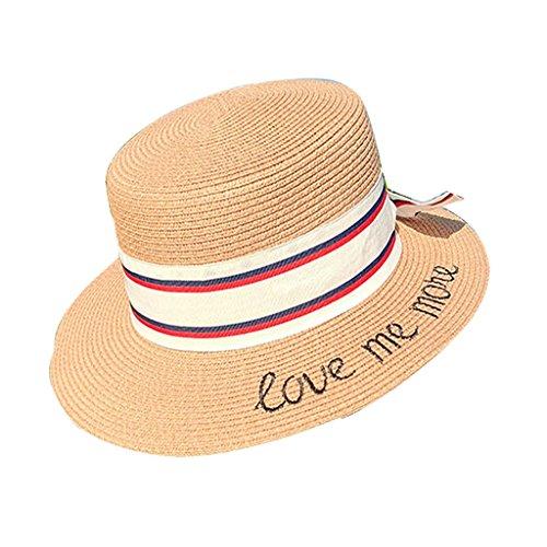Hut-beiläufige wilde weibliche Sommer-Strand-Hut-kleine frische Stickerei beschriftet flachen Hut-kleinen Hut Sonnenhut-Visier (Farbe : Khaki) (Stroh-hut Krempe Flachen)