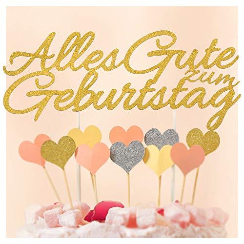 Ecooe Alles Gute zum Geburtstag Kuchen Dekoration Happy Birthday Kuchenaufsatz Cake Topper Glitter Gold Silber Rosa Herzen Größe