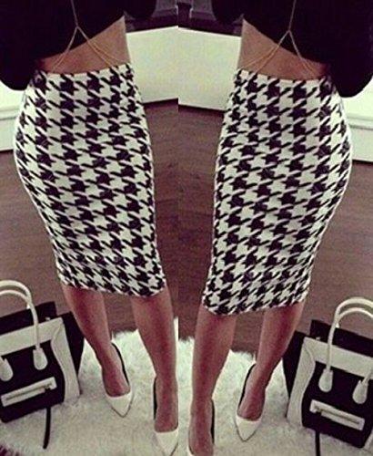 GUBA® New Women's Ladies Printed Stretchy Pencil Bodycon Wiggle Midi Skirt Plus Size 8-26