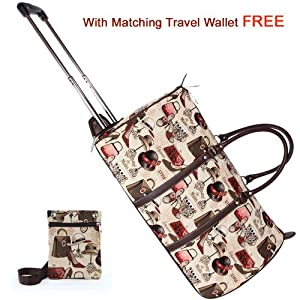 Signare Canvastapestry Wheeled Holdall Cabin Flight Bag Hand Luggage In Vintage Boutique Design With Free Matching Travel Wallet