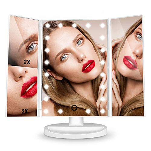 comprare on line Specchio Trucco LED,FASCINATE Bianco Specchio Cosmetico Illuminato con 21 Luci LED Ingranditore 3x 2x 1x Rotazione 180° Touch Screen Regolabile Tri-pieghevole Specchio Makeup prezzo