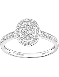 Naava 9ct White Gold Oval 0.20ct Halo Diamond Engagement Ring