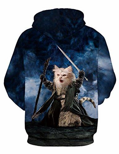 KamiraCoco Unisex 3D Digital Druck Bunte Kapuzenpullover Hoodie Langarm Damen Und Herren Cartoon Weihnachten Sweatshirt Pullover Hobbit-Katze-1
