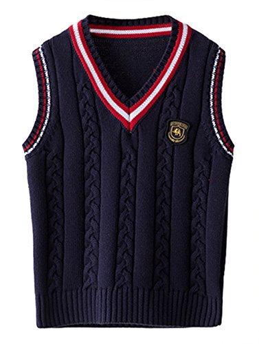 EOZY Kinder Jungen V-Ausschnitt Weste Top Baumwolle Strickweste Ärmellos Sweater Pullover Dunkelblau 110 Bruste 65cm