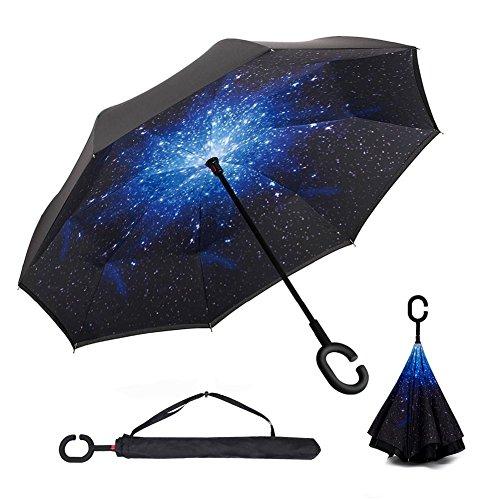 Ombrello con meccanismo di apertura riverso invertito utilissimo in caso di pioggia rovesciato, C Forma impugnatura dritta Rod doppio strato invertito Ombrello per auto all'aperto (Nero & Midnight star)
