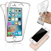 SAVFY® Funda 360 Doble Delantera + Trasera Gel Transparente Silicona Gel Integral para iPhone SE / 5 / 5S