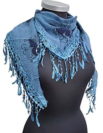 Immerschön Tücher Schal zum Lagenlook, Damen Accessory, blau, one size