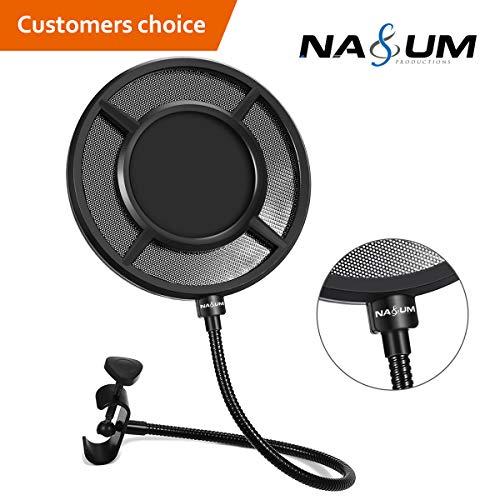 Mikrofon Popschutz NASUM Mikrofon Pop Filter Schutz Schirm Wind pop Filter Maske Schild mit Stand Clip Studio-Mikrofon Windschutz für Aufnahme und Übertragung 6.1 Inch mit t Stand Clip, schwarz