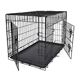 "SONGMICS Dog Puppy Cage Folding Metal Pet Carrier 2 Doors Dog Crate with Tray Black 36"" XL 91 x 64 x 58 cm PPD36H"