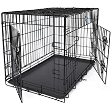 Songmics Jaula metálica para perro gato conejo Plegable Transportable 91 x 58 x 64 cm Negro PPD36H