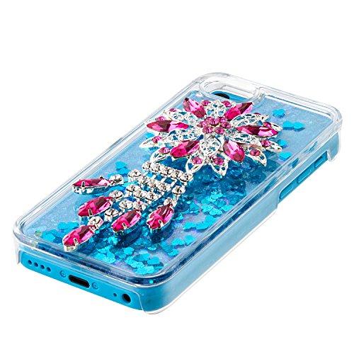 Coque iPhone 5C Flüssigem,Housse Cas Etui pour iPhone 5C,Ekakashop Creative 3D Dual Layer Transparente Clair Cristal Clear Brillant étui Bling Shiny Sterne Scintillante Poudre et Paillettes Liquide Ri Lotus Bleu