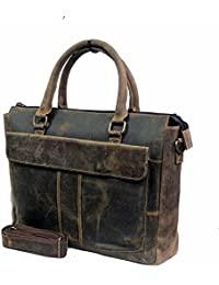 """Stylish 15""""Genuine Vintage Pure Leather Laptop Sleeve Messenger Office Bag With Shoulder Strap By-Widnes"""