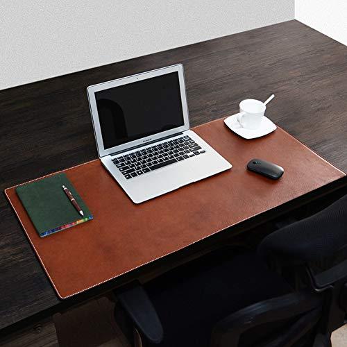 SSOK Cooler fans Premium Leder Office Desk Pad Mauspad, Verlängert Schreibtisch Blotter Geldklammer Wasserdicht, Gaming-schreiben Matte Für Office Home-braun 90x45cm(35x18inch) -