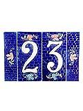 Hausnummern aus Keramik, Hausnummer Keramik blau, Dübel Steine NB 2.Dim: Höhe 15cm, Breite insgesamt 22,7cm