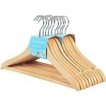 Songmics - Perchas de madera de arce los niños (20 unidades), color madera CRW006-20