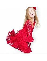 Morbuy Ropa de Niñas, Niñas Niños Flor de Encaje Rojo de Princesa Vestidos de Niñas de Moda para el Partido de la…