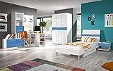 Furnistad - Modernes Kinderzimmermöbel & Jugendzimmermöbel Komplett 'DIAMOND' - Kleiderschrank, Schreibtisch, Schrank, Bett, Nachttisch - Kinderzimmer - Jugendzimmer - Möbel - Jugendmöbel Set - Jugenbett - Kinderbett - Kindermöbel - Jugendzimmer-Set - Schlafzimmer-Set - Kostenfreie Lieferung (Weiß + Blau)