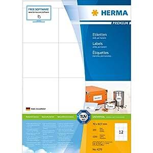 Herma 4279 Universal-Etiketten selbstklebend (70 x 67,7 mm auf DIN A4 Premium Papier, matt) 1.200 Stück auf 100 Blatt, weiß, bedruckbar