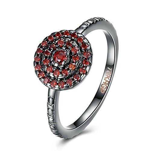 Amdxd moderni gioielli placcato argento anelli per donna rosso fedi nuziali doppio cerchio zirconia dimensione 17
