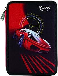 Maped Cars - Plumier con 34 piezas, dos pisos , color rojo y negro