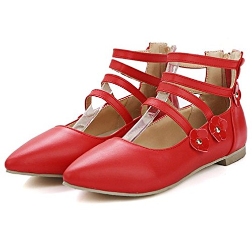 COOLCEPT M?dchen Sweet Schuhe Flach Tochter Pumps for Schule mit Blume Rot