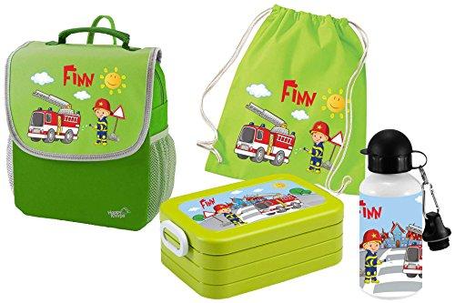 5 Kindergartenrucksack mit Brotdose Maxi, Turnbeutel Baumwolle und Flasche Happy Knirps Next mit Name Feuerwehr, 4-teilig, Grün ()
