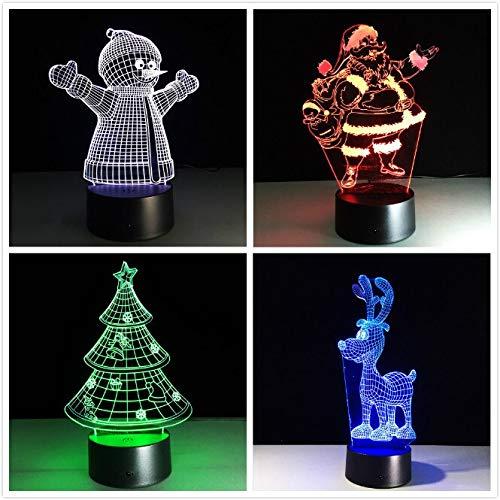 Acryl 7 Farben Ändern LED USB 3D Tischlampe Neuheit Geschenke Weihnachtsbaum Schneemann Weihnachtsmann Weihnachten Hirsch für Hauptdekorationen han-7051