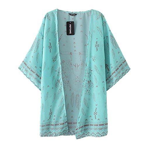 Kanpola Damen Bluse Boho Printed Chiffon loser Schal Kimono Cardigan Tops Vertuschung (M, grün) (Pullover Tunika Koch)