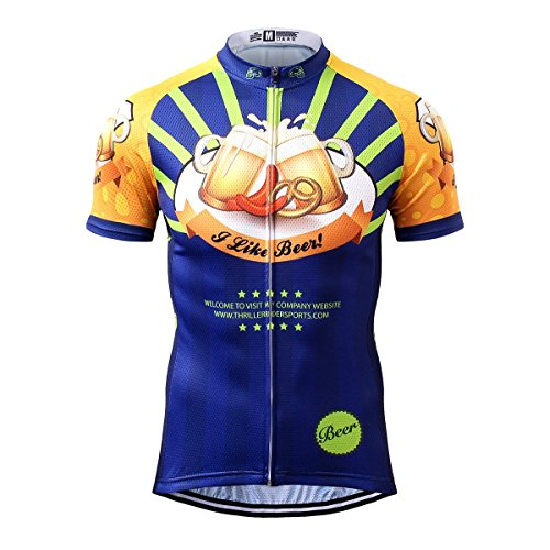 Thriller Rider Sports® Mens I Like Beer Outdoor Sports Mountain Bike Short Sleeve Cycling Jersey