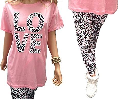VACANCES VALISE DAMES grande taille 18-32 UK pyjamas Ensemble CAT, panda ou amour ensemble cadeau - amour, EU 58/60