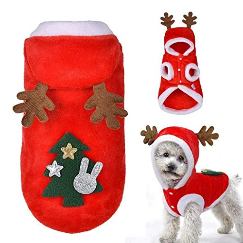 Kostüm Hunde Weihnachtsbaum Für - Kostüm Katze Hund Mantel Weihnachtsbaum Kleidung Winter Haustier Hoodie Mantel M Bekleidung (Color : Red, Size : Small)